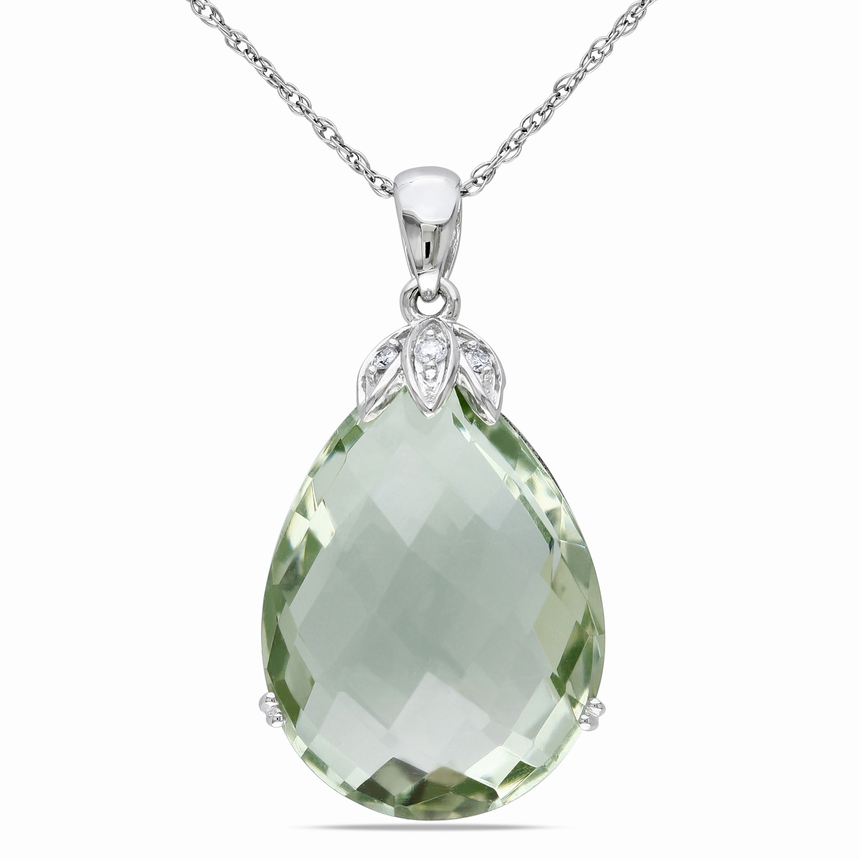 0.04 CT Diamond TW And 15 CT TGW Green Amethyst Fashion Pendant With Chain 10KW