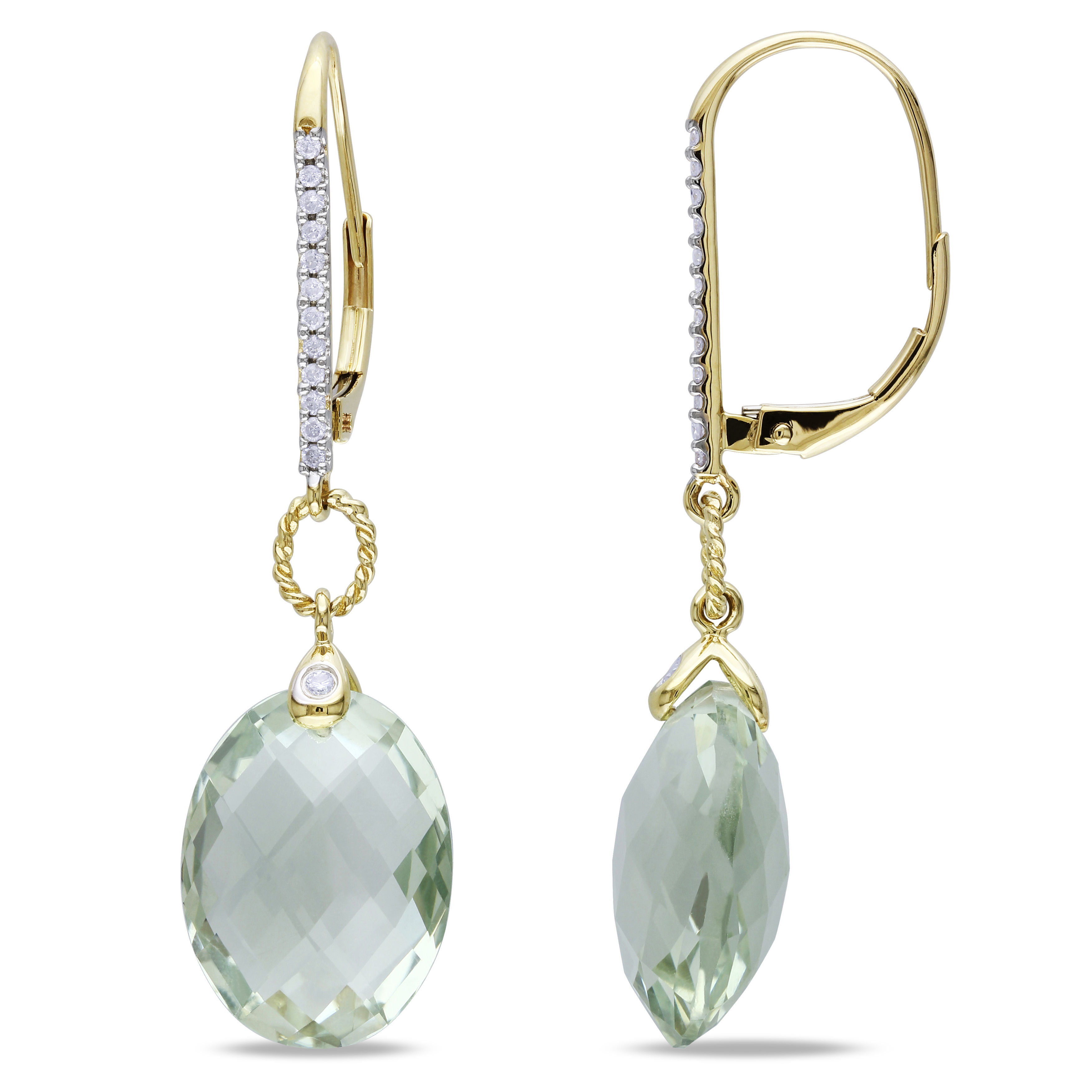 Green Amethyst And Diamond LeverBack Earrings 14KY