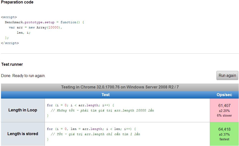 Tìm Length trong vòng lặp | JsPerformance