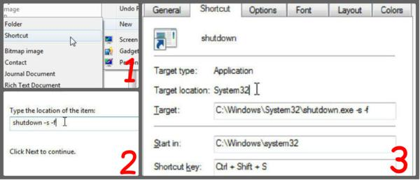 Create your own Shutdown Shortcut