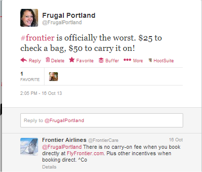 twitter conversation with Frontier