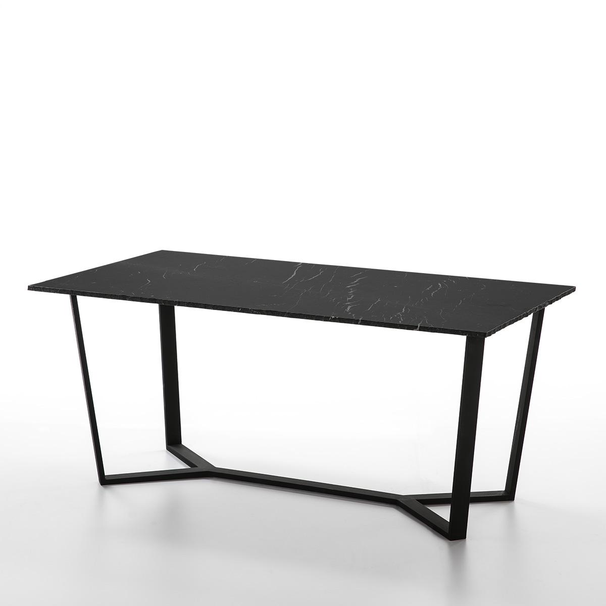 Mesa Comedor Negro Metal Y Marmol 170x90x75 Kd Design
