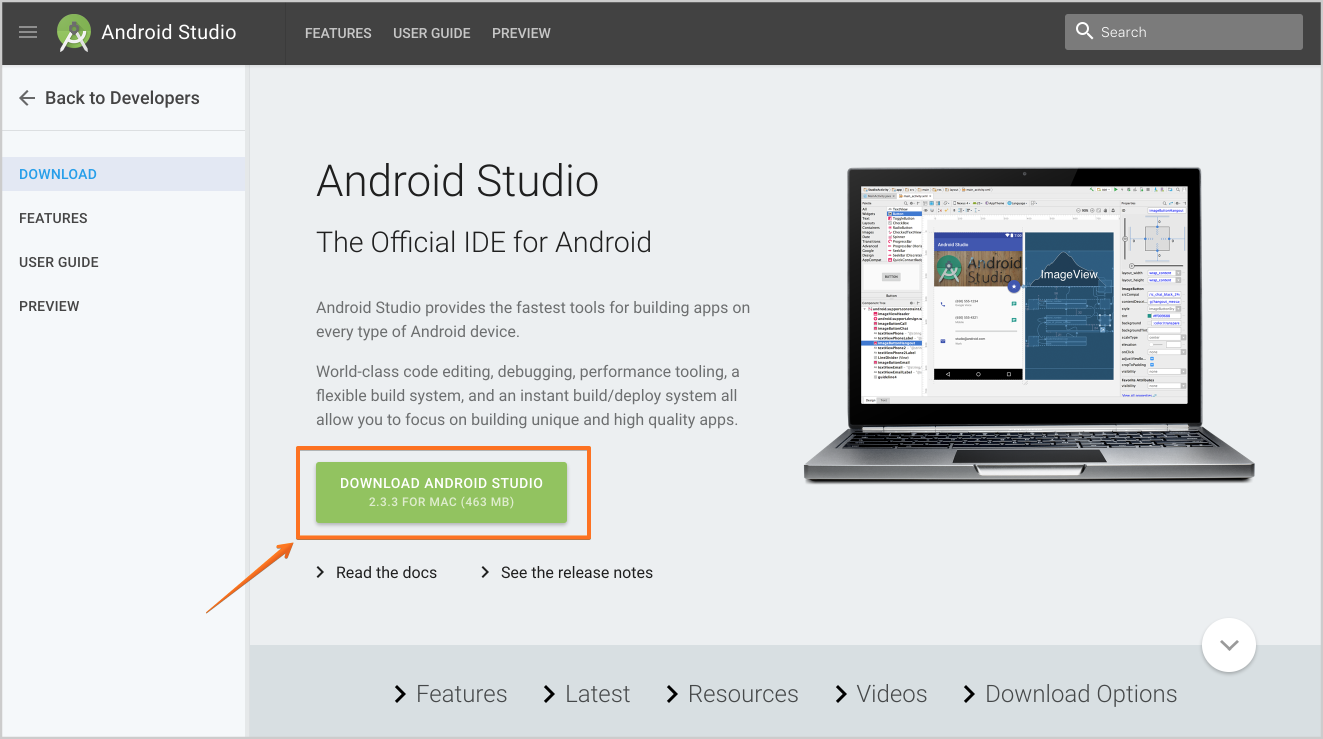 Android Studio Home Page