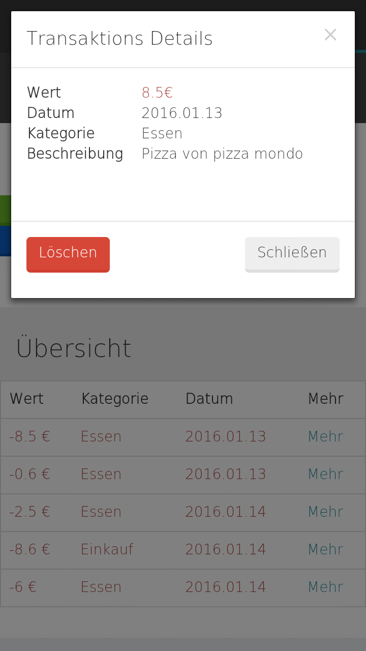 Transaktion Screen | Finanzrechner App