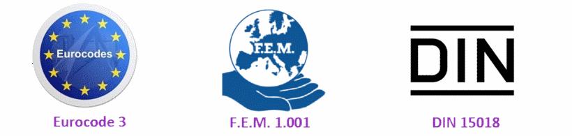 Eurocode3, FEM 1.001 and DIN15018 Standards