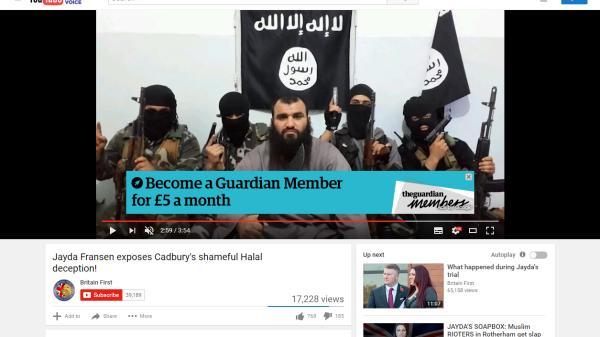 """The Times titre : """"Taxpayers are funding extremism"""", en réaction à une publicité The Guardian - financé par l'état Anglais-  diffusée sur une chaîne islamiste, qui en tire un revenu publicitaire"""