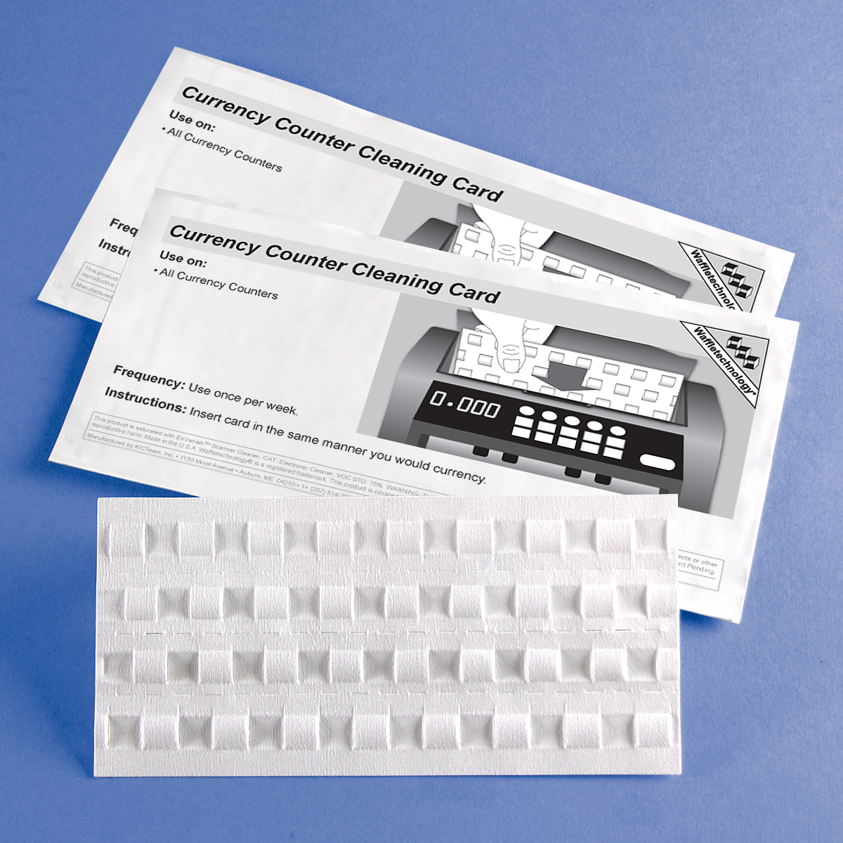 Currency Counter Cleaning Card featuring Waffletechnology®