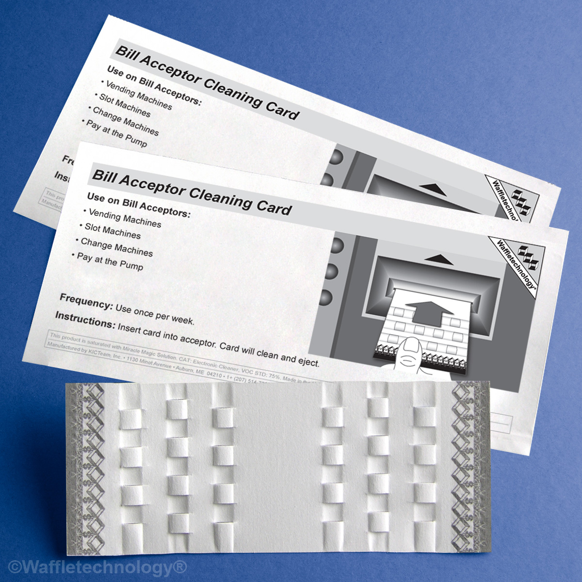 Bill Acceptor Cleaning Card featuring Waffletechnology®