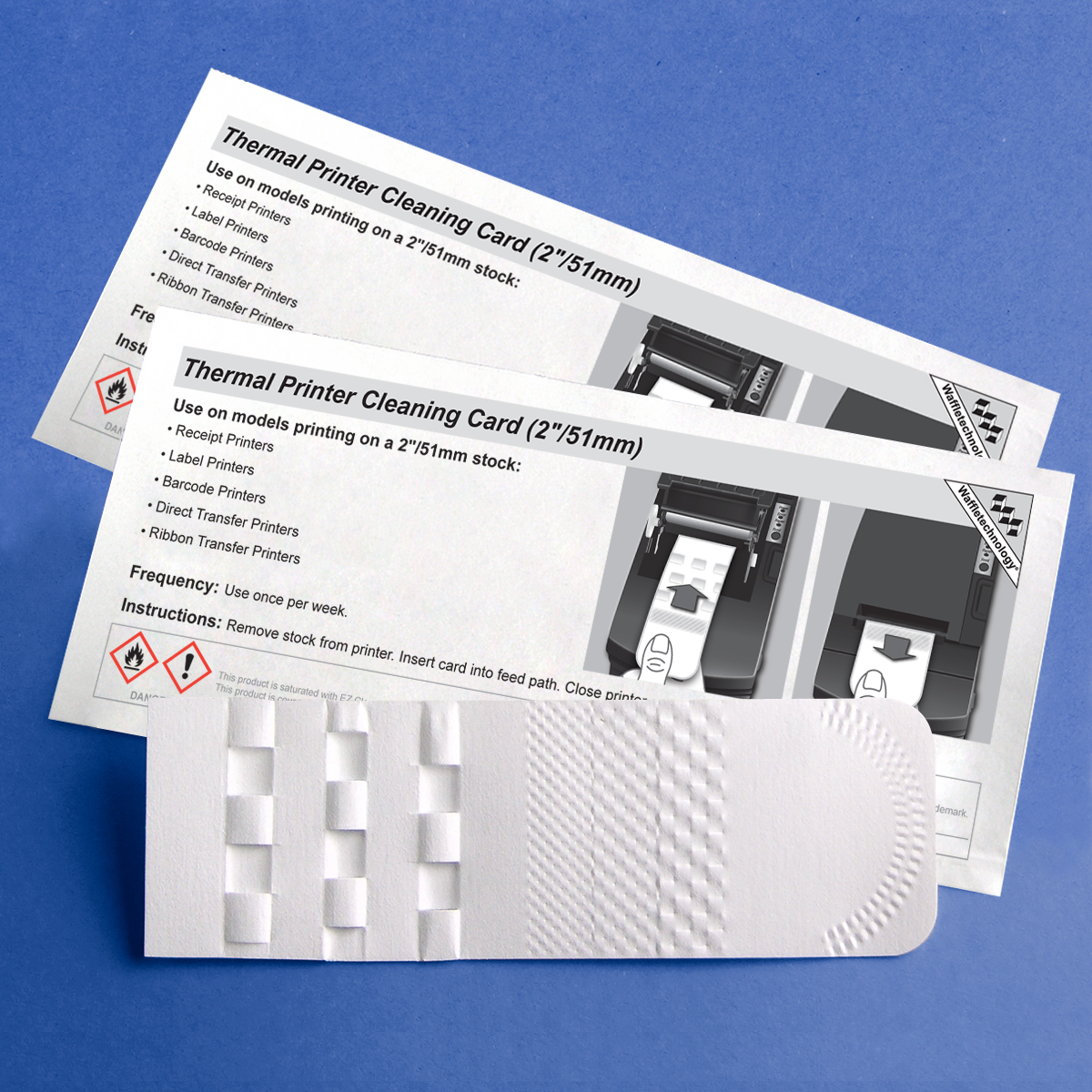 Thermal Printer Cleaning Card mit Waffletechnology ® (2 In / 51mm)