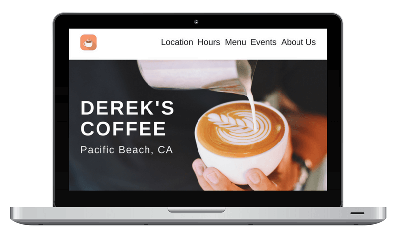 Mockup of Derek's Coffee Shop website