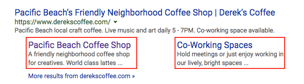 Derek's Coffee SERP listing with two headers showing