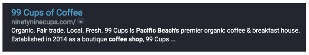 Screenshot of 99 Cups SERP