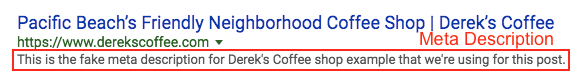 Screenshot of Derek's Coffee SERP with the meta description highlighted.