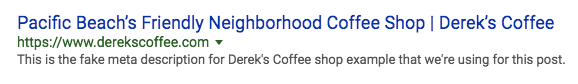 "screenshot of Derek's Coffee SERP with ""Pacific Beach's Friendly Neighborhood Coffee Shop 