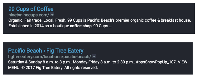 screenshot of 99 Cups and Fig Tree Eatery's serp listings.