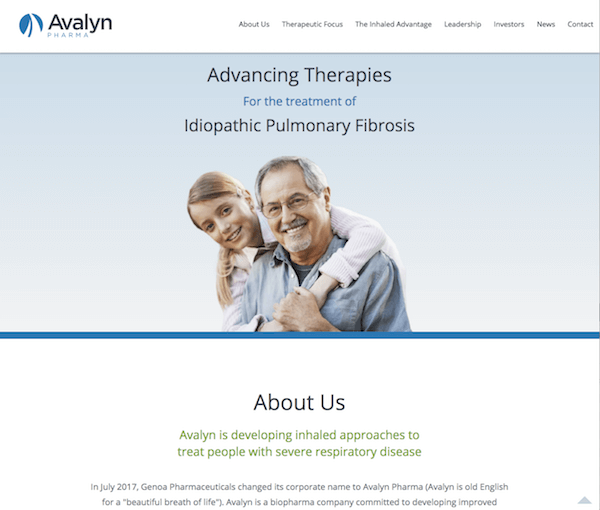 Screenshot of Avalyn Pharma's new site design