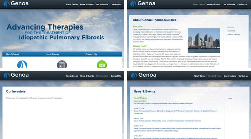 Screenshot of the previous design of Genoa's site.