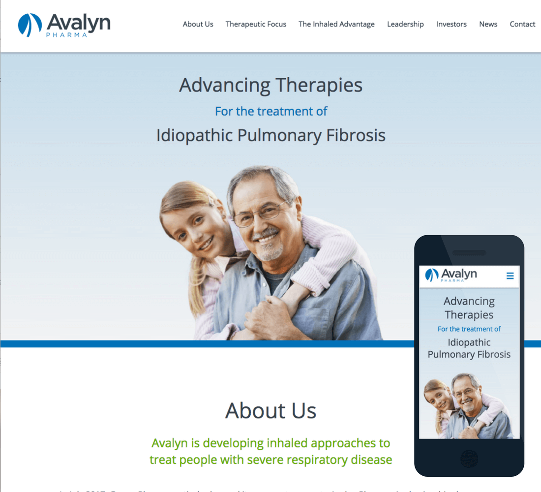 Screenshot of the desktop and mobile versions of the Avalyn Pharma site.