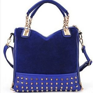 Blue Studded Face Handbag with Side Slit-Pocket