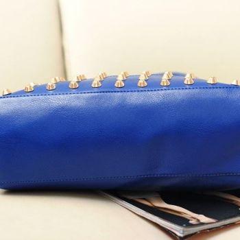 Side of Studded Face Handbag with Side Slit-Pocket In-Situ