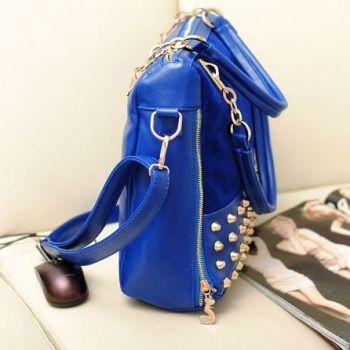 Studded Face Handbag with Side Slit-Pocket In-Situ Side-View