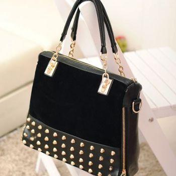 Studded Face Handbag with Side Slit-Pocket Hanging InSitue