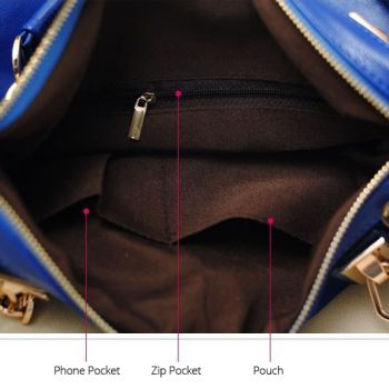 Studded Face Handbag with Side Slit-Pocket