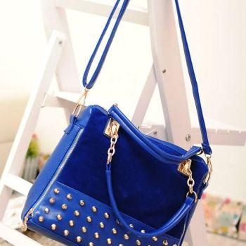 Studded Face Handbag with Side Slit-Pocket Hanging In Situ