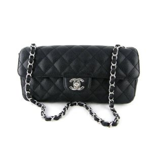 Chanel Black Caviar East West Flap Bag