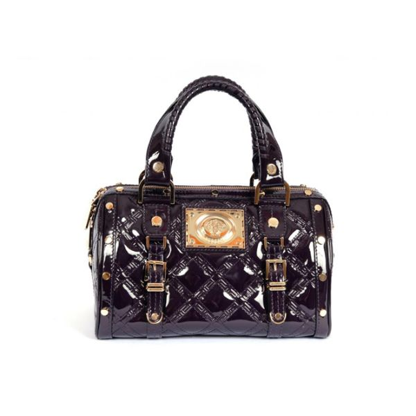 Versace Aubergine Patent Leather Madonna Satchel