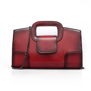 Wine Red Andreas Double Flat Handle Vintage Shoulder Bag with Chain Shoulder Strap