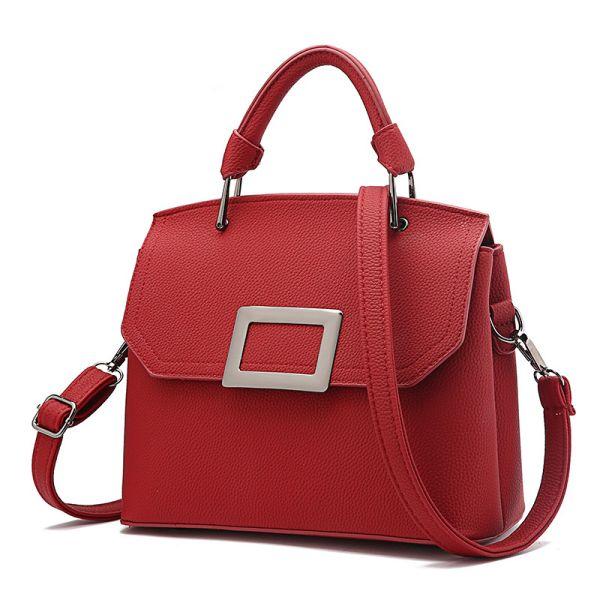 Red McBeal Top-Handle Flap Satchel