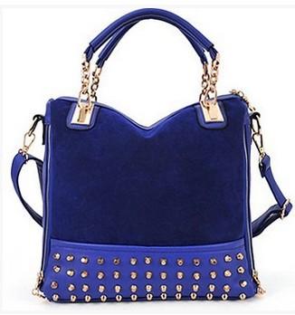 Blue Studded Face Handbag with Side Slit-Pocket