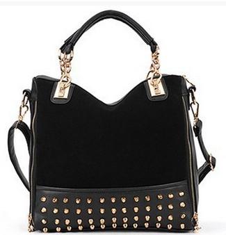 Black Studded Face Handbag with Side Slit-Pocket