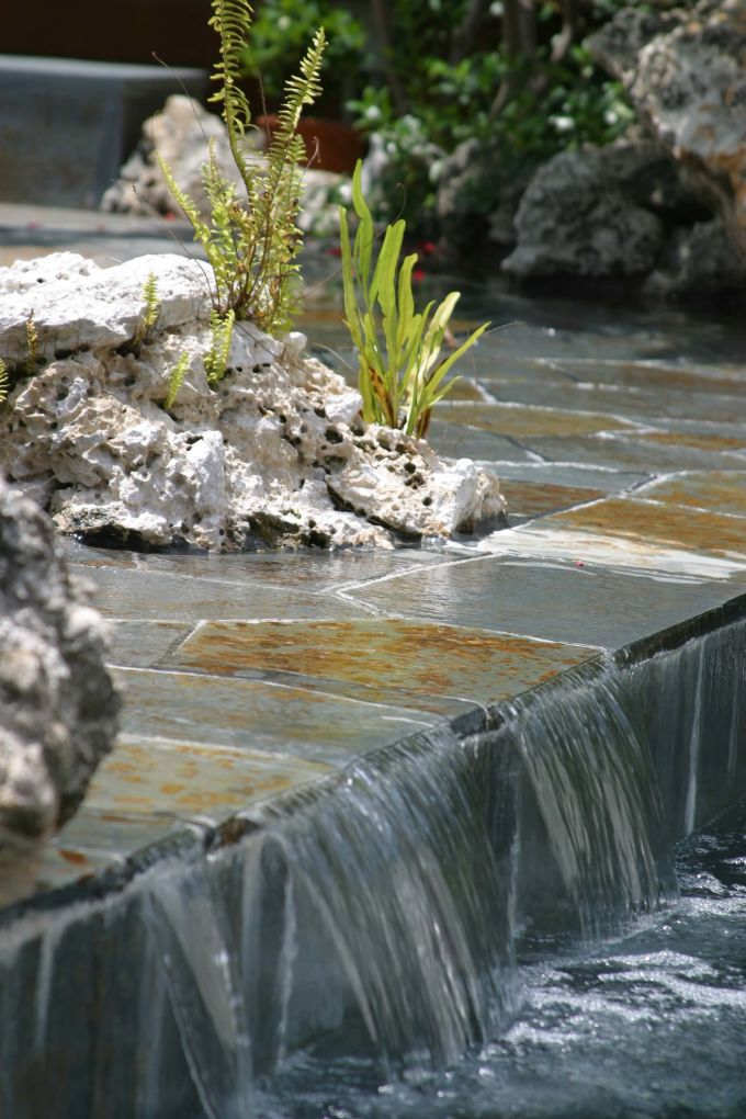 waterfall step at Grand Cayman residence
