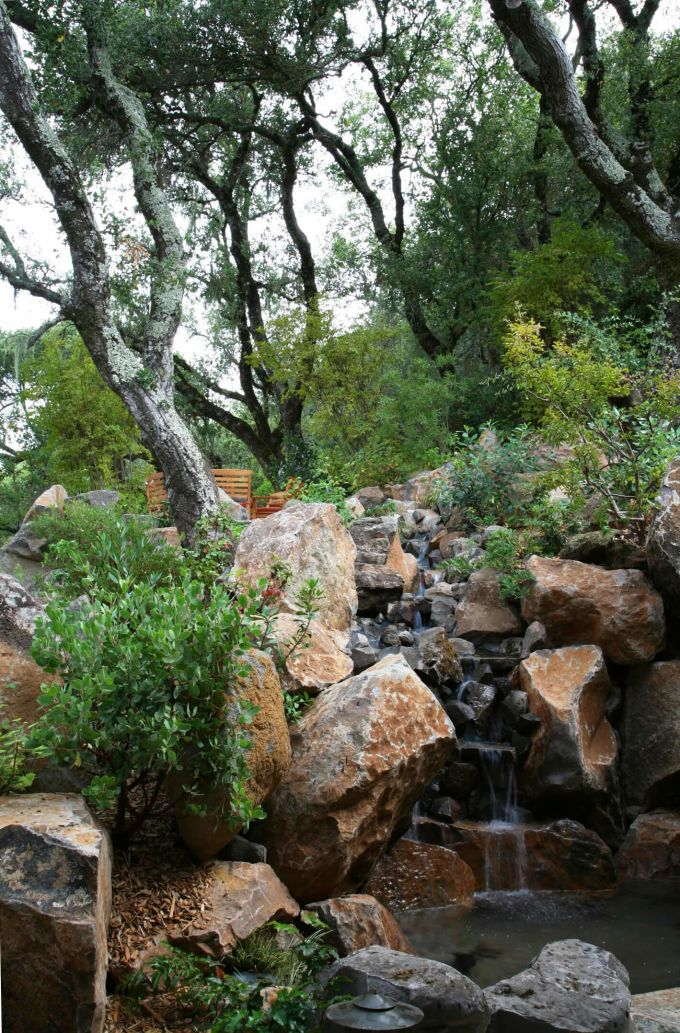 creek with small waterfall and trees at Brand Vineyards