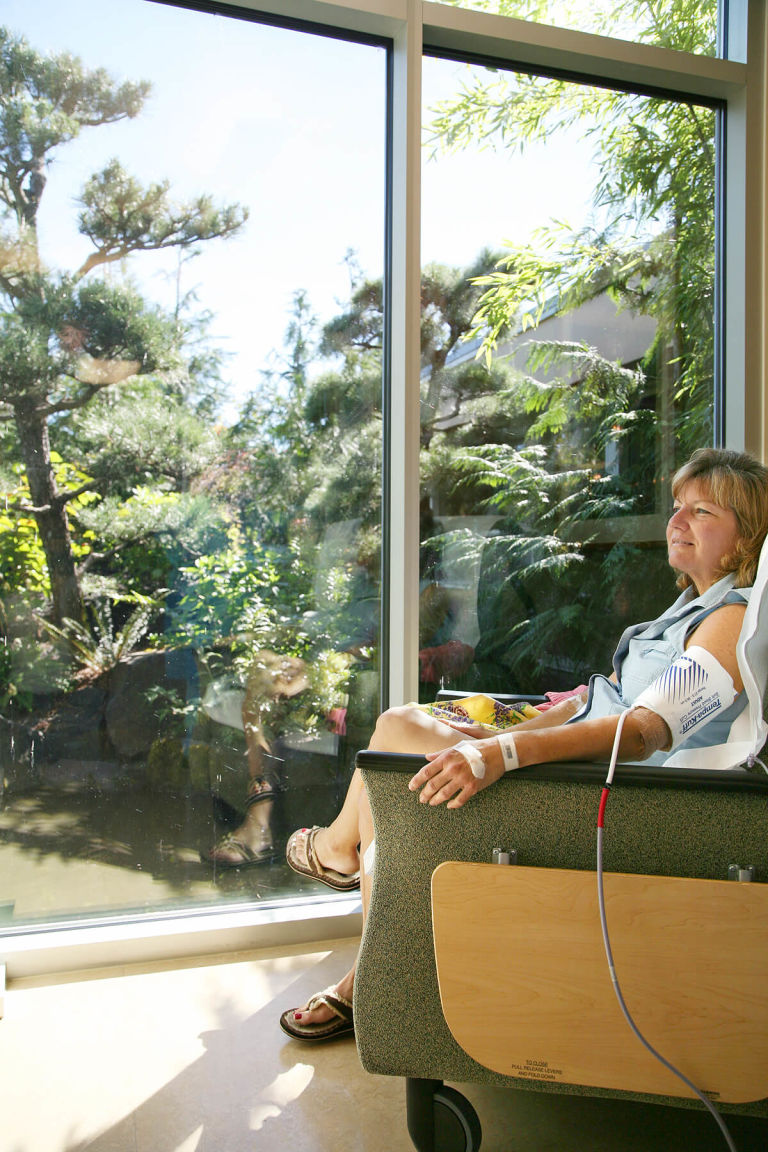 patient receiving infusion therapy while looking at garden at Samaritan Lebanon Community Hospital