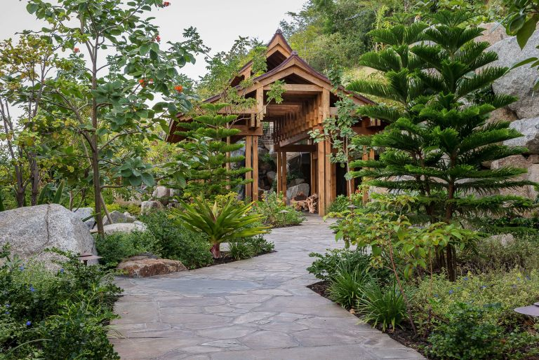 wooden structure, path, and trees at British Virgin Island residence