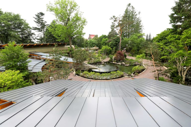 view of pond, trees, and path from roof