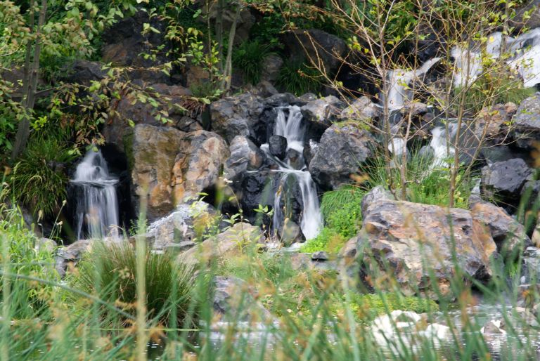 rocky waterfall at Talking Water Gardens