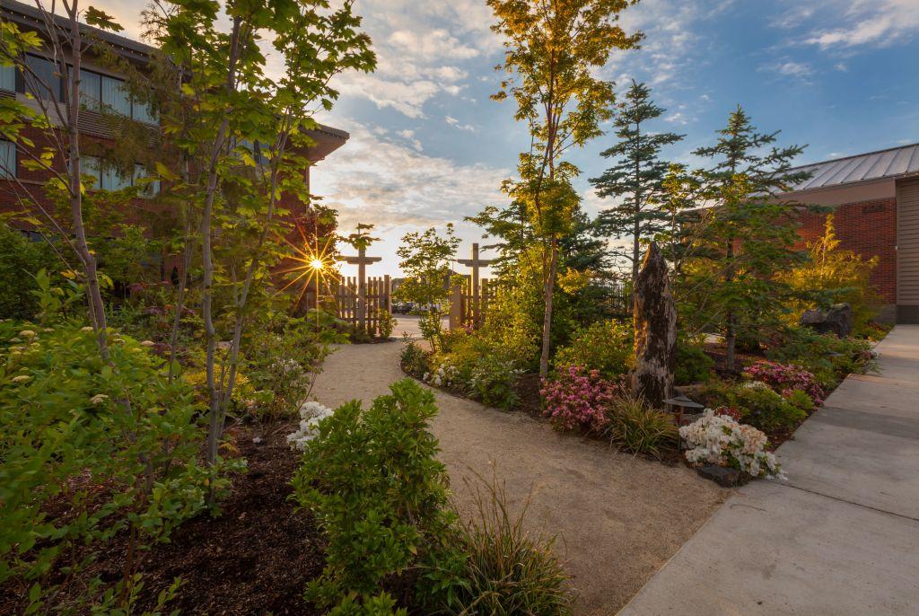 garden path and gate at Samaritan Lebanon Health Sciences campus