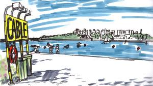 Piirustus Helsingin uimarannalta