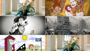kollaasi viidestä animaatioelokuvasta