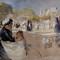 "Albert Edelfelt skiss till målningen ""Luxembourg-trädgården i Paris"""