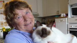Maja Stadius med katten Chérie, en helig Birma med lika blå ögon som matte (fast de vägrar katten öppna trots fotografens vädjande röst)