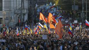 Ryssar demonstrerar i Moskva.