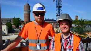 Joel Johansson och Martin Nilsström vid Folkhälsans bygge på Rådhusgatan