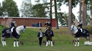 Sophia Backlund - Zerleone, Jasmin Sikström - Weltmarck, Jenni Rintala - NK Unique och lagledare Pirjo Sikström utan häst.