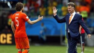 Daley Blind och Louis van Gaal i VM i Brasilien.
