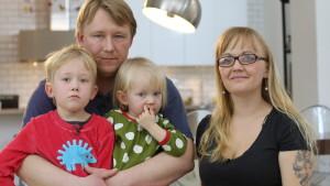 Familjen Karlsson, fr.v. Alvin, Daniel, Lykke och Anna-Maria.